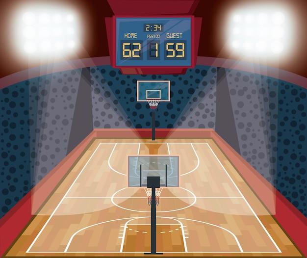 バスケットボールスポーツゲームの風景漫画 無料ベクター