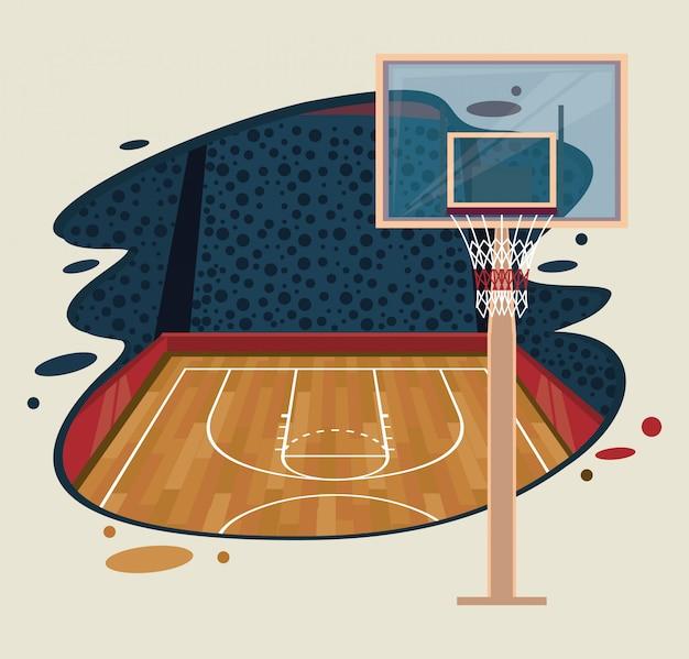 バスケットボールスポーツゲームの風景 無料ベクター