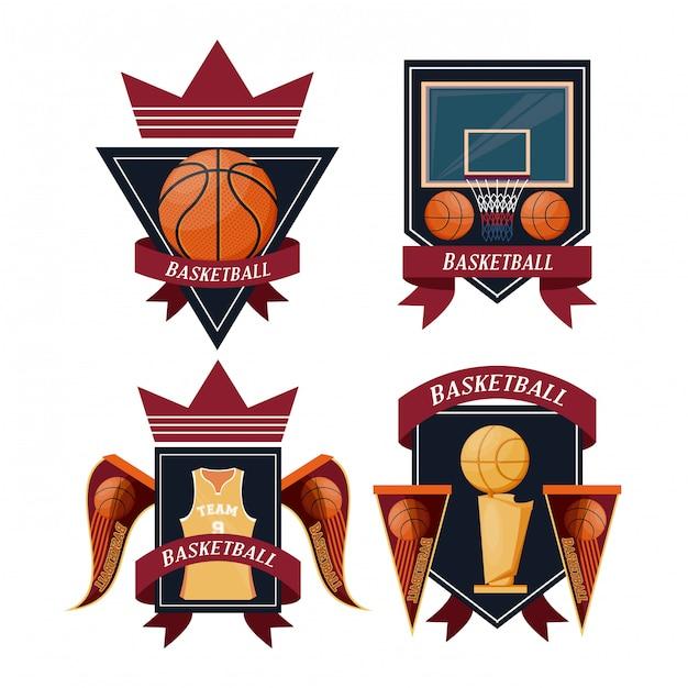 バスケットボールスポーツエンブレムセット 無料ベクター