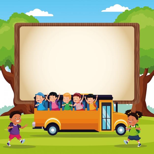 学校に戻る子供漫画 無料ベクター