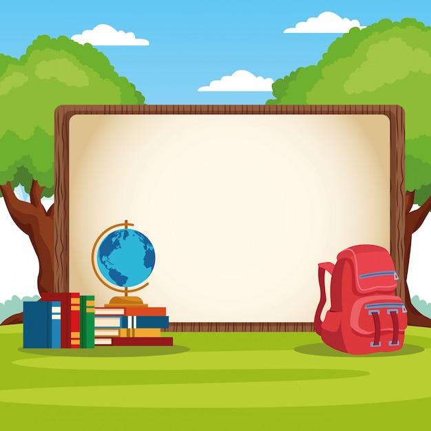 Снова в школу рамка с мультфильмом Бесплатные векторы