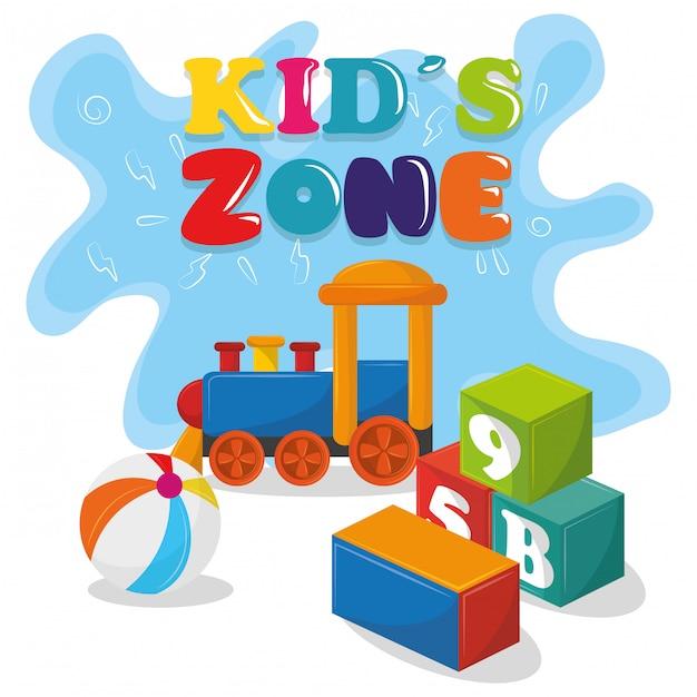 Детская зона, детские развлекательные мультфильмы Бесплатные векторы