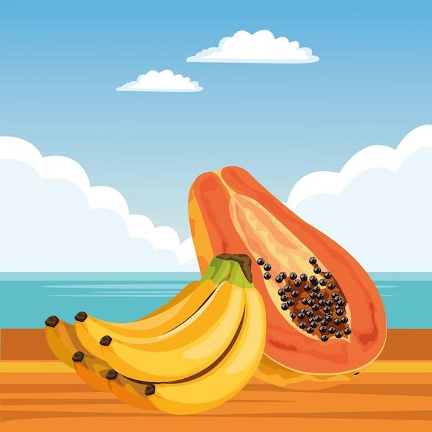 Экзотический мультфильм тропических фруктов Бесплатные векторы