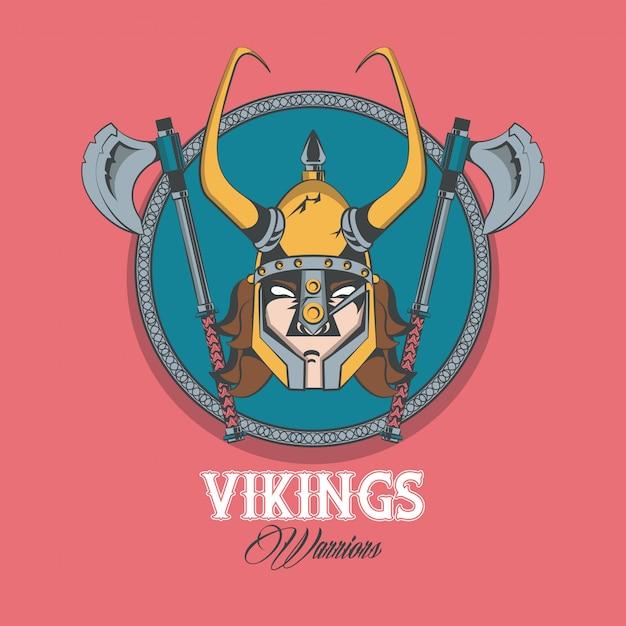 Воины викингов напечатали футболку Бесплатные векторы