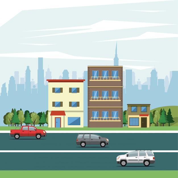 都市の景観と都市の建物 無料ベクター
