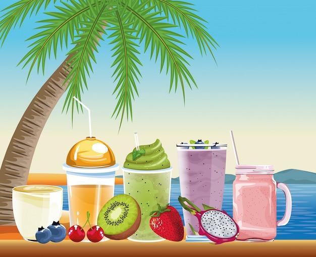 夏の休暇と漫画のスタイルのビーチ 無料ベクター