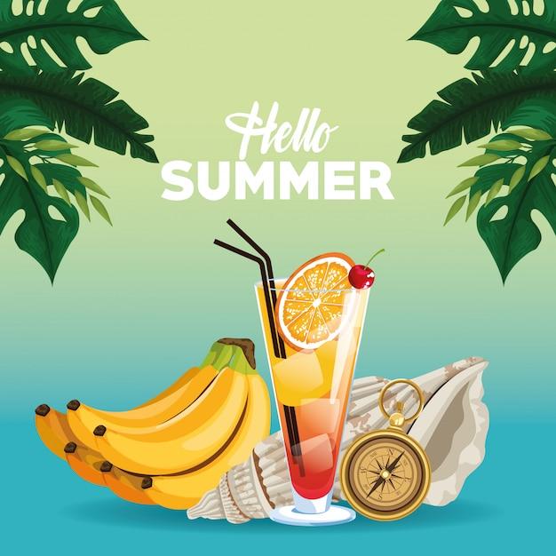 こんにちは夏のカードカード、漫画のスタイル 無料ベクター