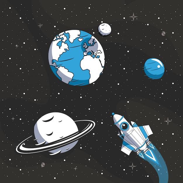 Космический корабль летит в космосе Бесплатные векторы