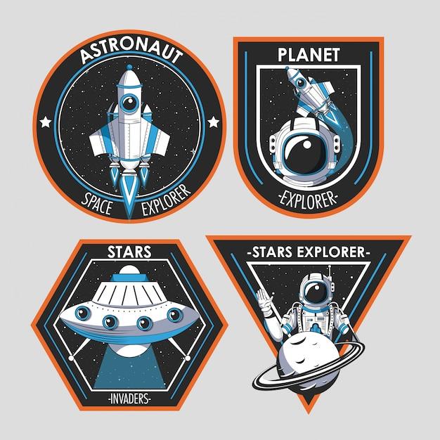 宇宙探検家パッチエンブレムデザインのセット 無料ベクター