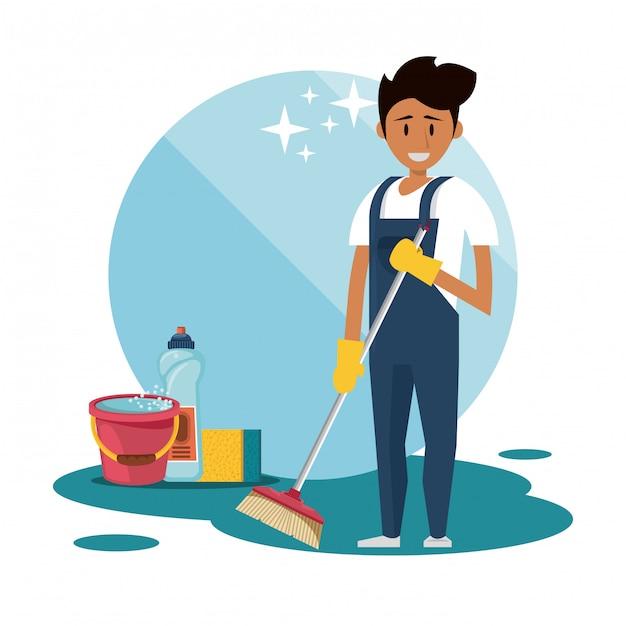 清掃用品付きハウスキーピングサービス 無料ベクター