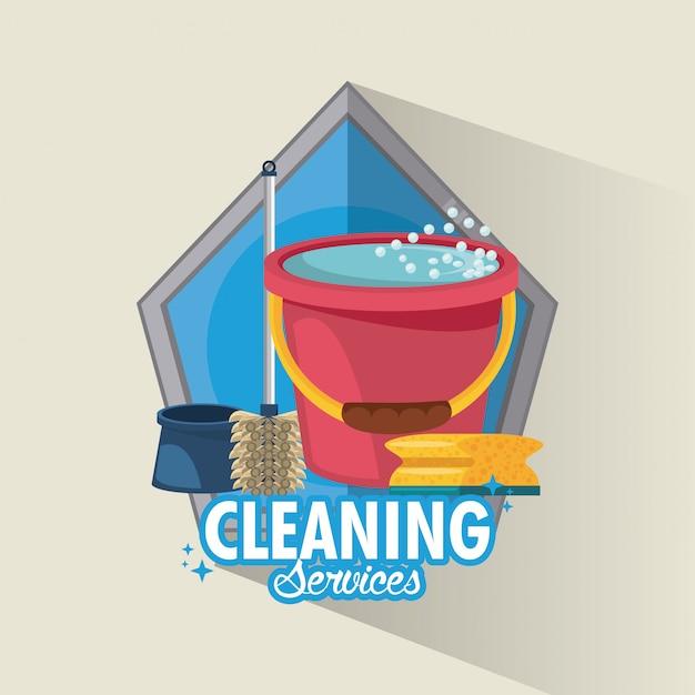 清掃サービスとハウスキーピング 無料ベクター