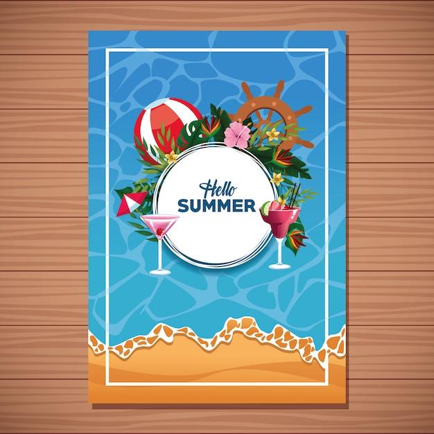 こんにちは夏の木製の背景カード 無料ベクター