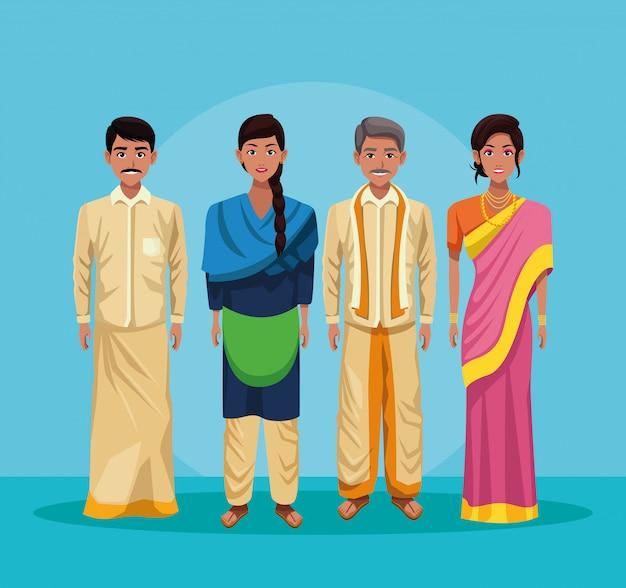 インド漫画のインドのグループ 無料ベクター