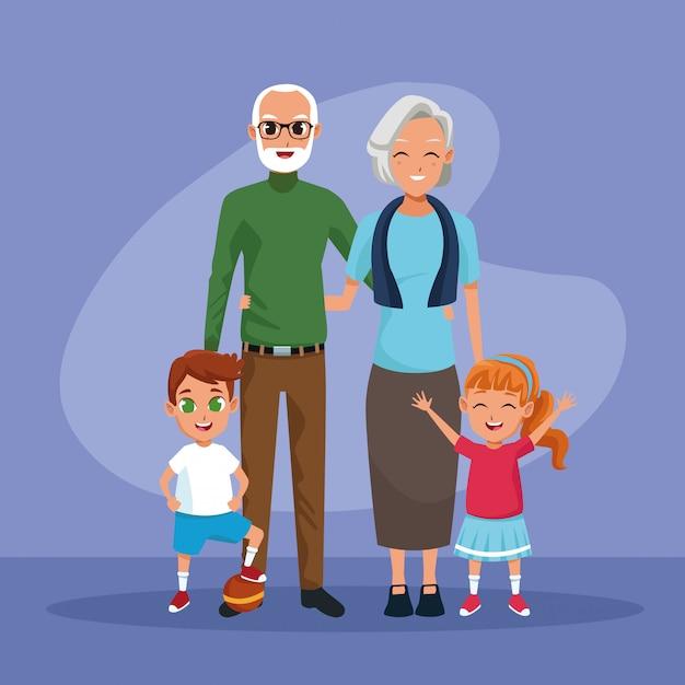 Бабушки и дедушки и внуки детские мультики Бесплатные векторы