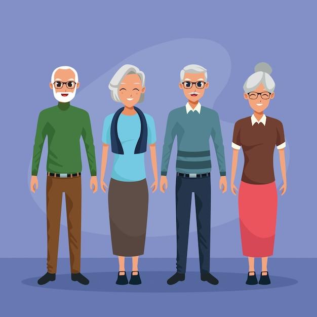 Бабушки и дедушки персонажи улыбающиеся мультфильмы изолированы Бесплатные векторы