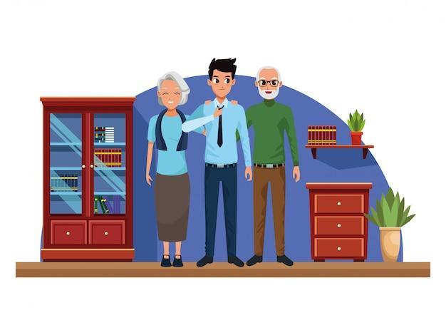 家族の両親と息子の漫画 無料ベクター