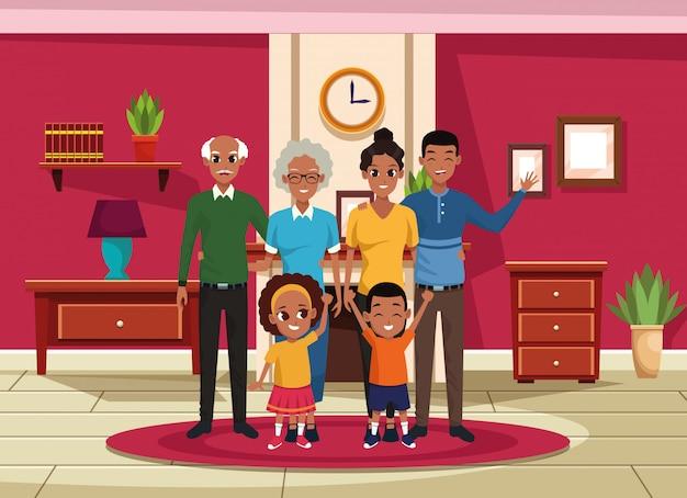 家族の祖父母、両親と子供の漫画 無料ベクター