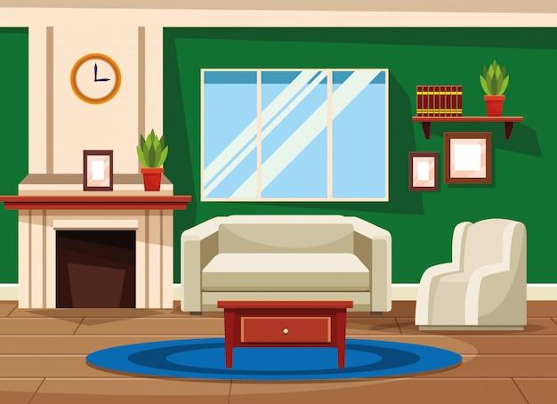 Интерьер дома с мебелью декорации Бесплатные векторы