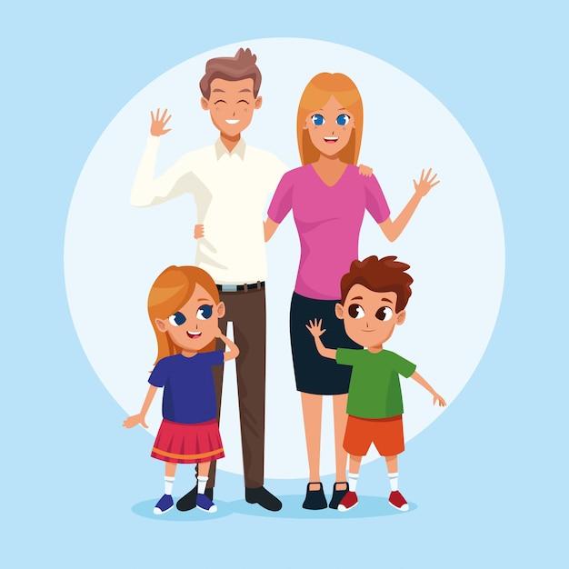 Семейные мультфильмы для родителей и детей Бесплатные векторы