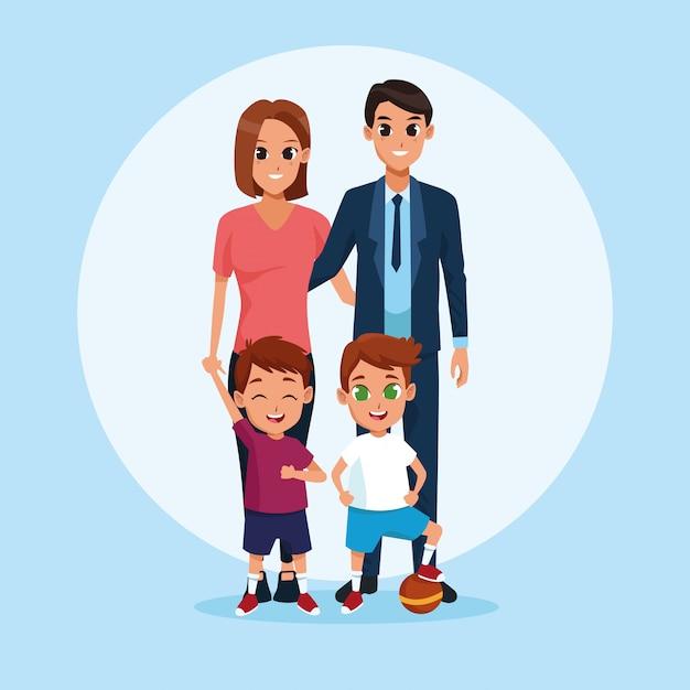 家族の両親と子供の漫画 無料ベクター