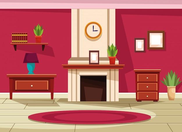 家具の風景と家のインテリア 無料ベクター