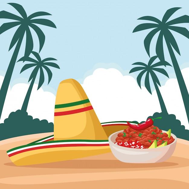 メキシコ料理と伝統文化 無料ベクター