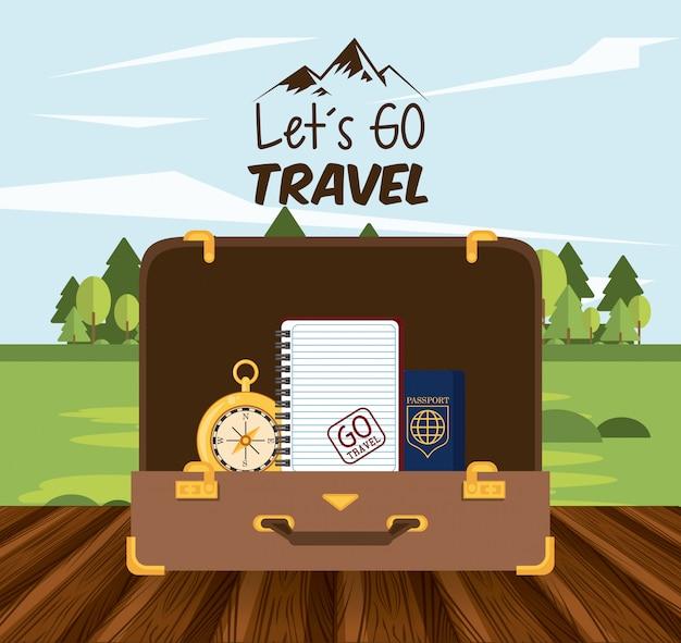 Путешествие путешествие и значок туризма Бесплатные векторы