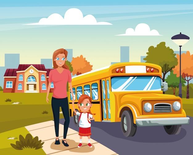 幸せな学校に戻る 無料ベクター