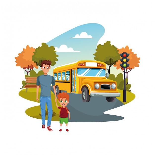 Снова в школу со счастьем и отцом сына и школьным автобусом Бесплатные векторы