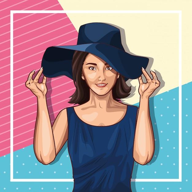 ポップアートのファッションと美しい女性の漫画 無料ベクター