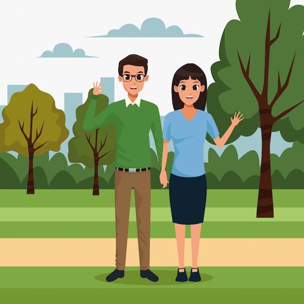 公園の風景の中の若いカップル 無料ベクター