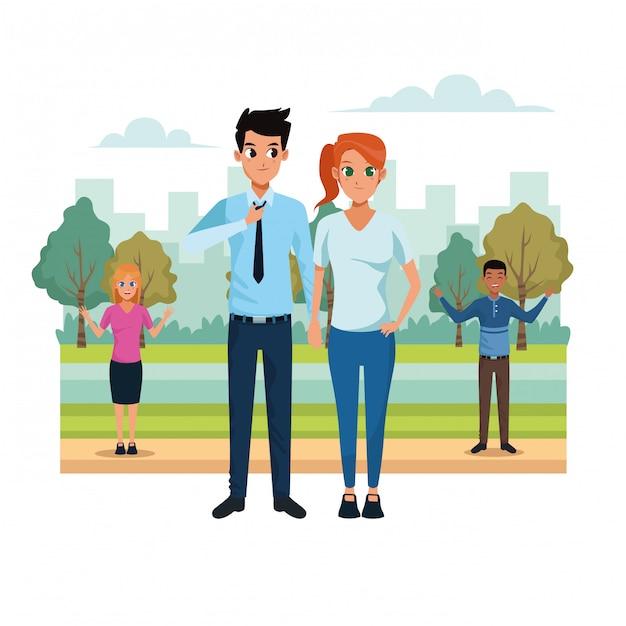 Молодая пара в парке пейзажей Бесплатные векторы