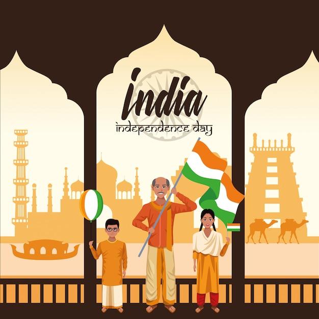 День независимости индии Бесплатные векторы