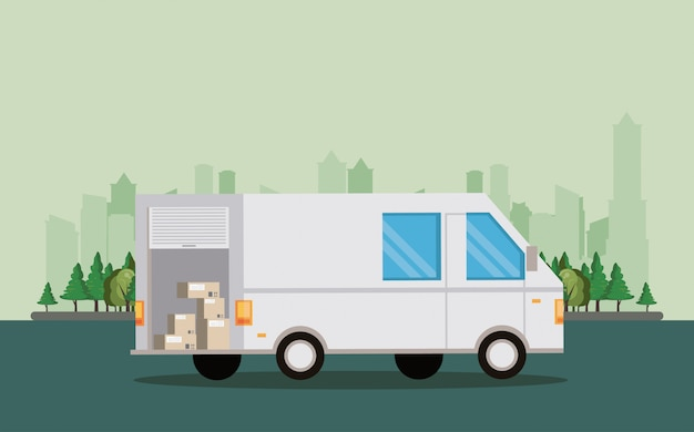 輸送車両配達用バンの漫画 無料ベクター