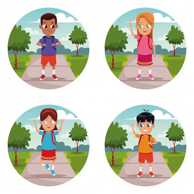 学校の子供たちのバックパックの漫画のセット 無料ベクター
