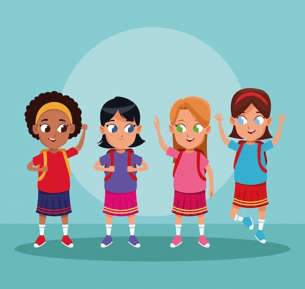 学校の男の子と女の子の漫画 無料ベクター