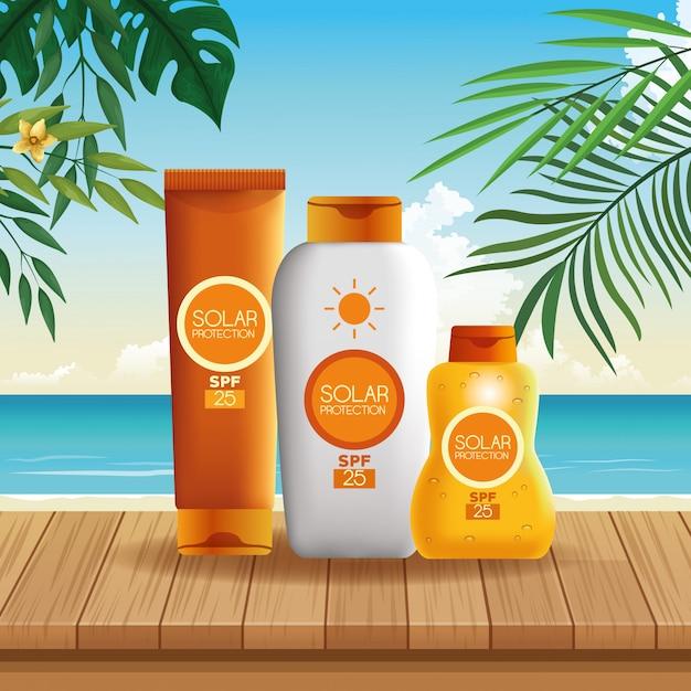 夏の日焼け止めボトル製品 無料ベクター