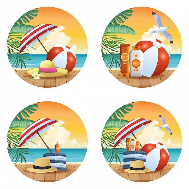 丸いアイコンの夏とビーチ製品漫画セット 無料ベクター