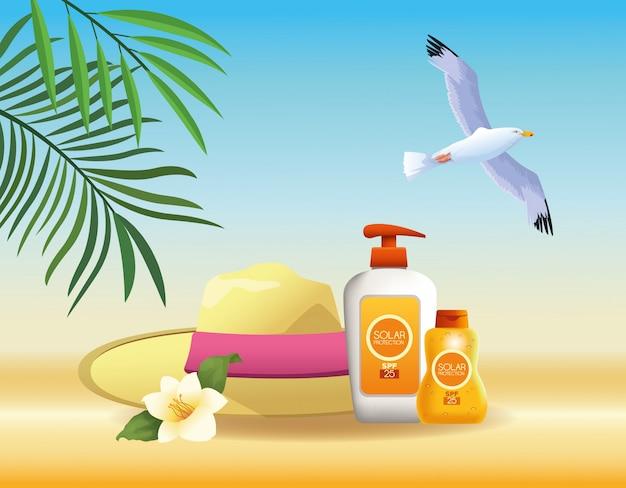 夏とビーチ商品の漫画 無料ベクター