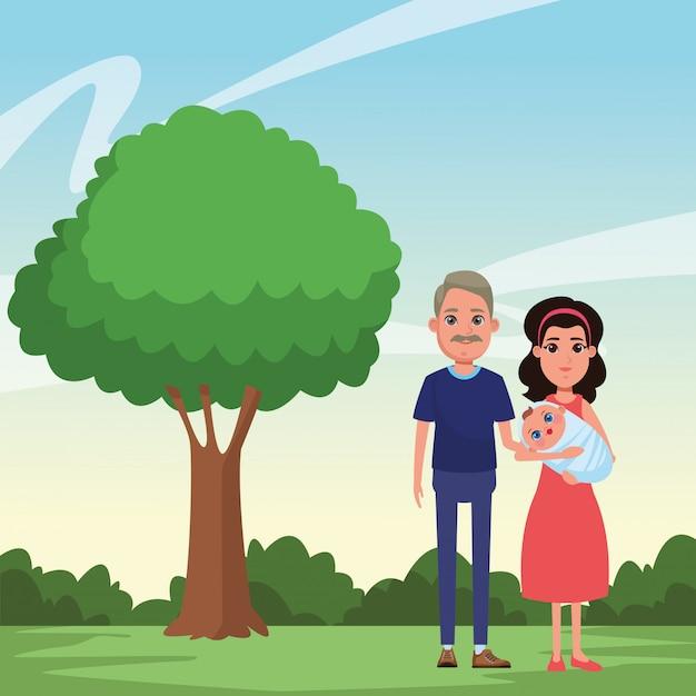 家族のアバター漫画のキャラクターの肖像 無料ベクター