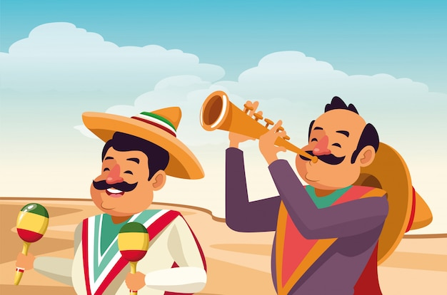 メキシコの伝統文化のアイコン漫画 無料ベクター