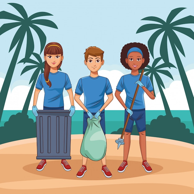清掃サービス担当者のアバターの漫画のキャラクター 無料ベクター