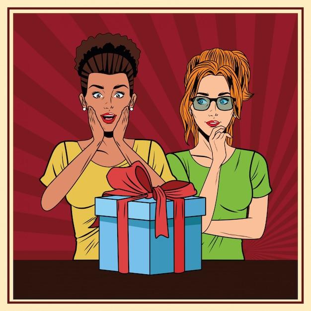 Молодые женщины с подарочной коробкой поп-арт Бесплатные векторы