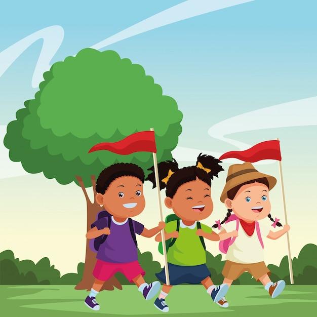 子供とサマーキャンプの漫画 無料ベクター