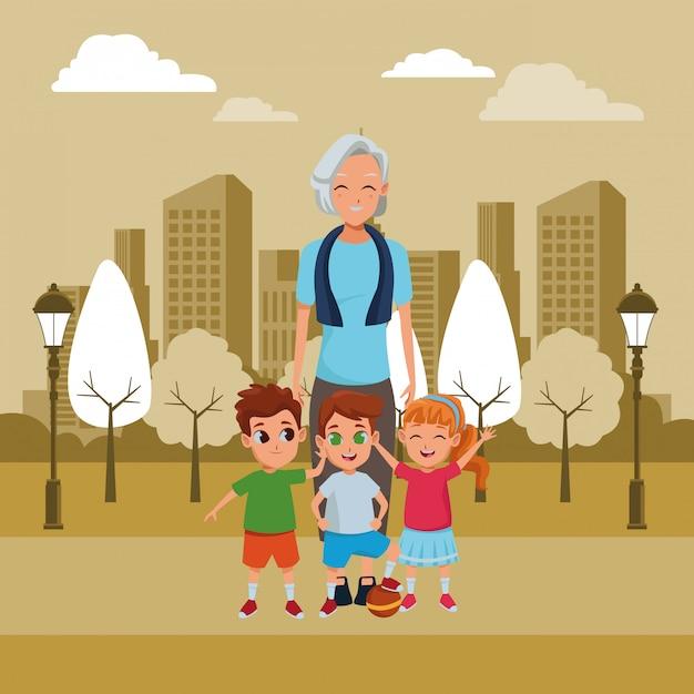 孫漫画と家族の祖母 無料ベクター