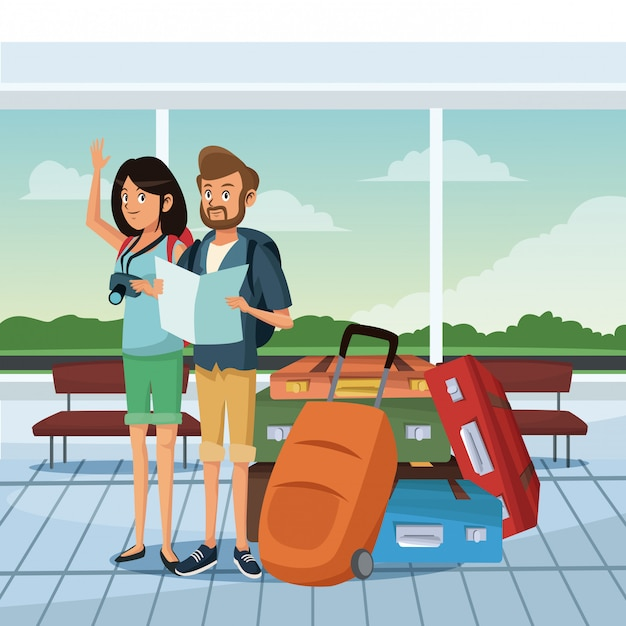 空港で若いカップル Premiumベクター