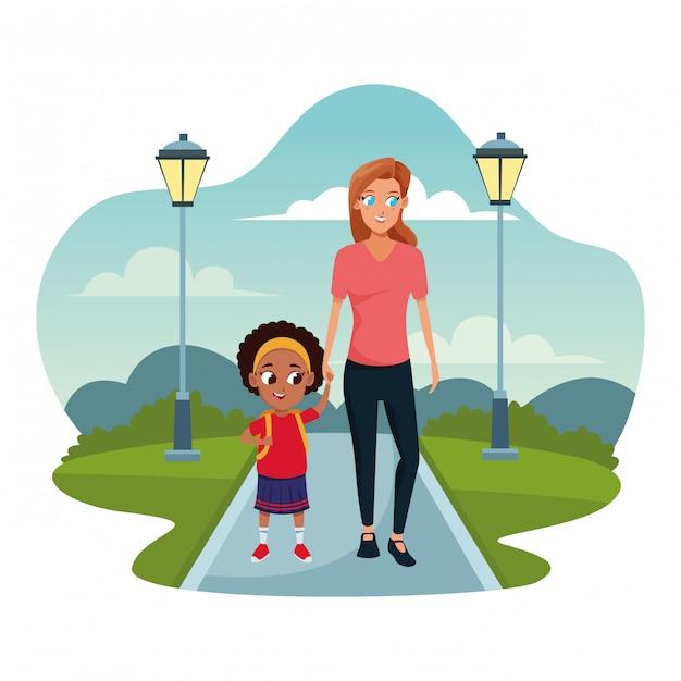子供と家族のシングルマザー Premiumベクター