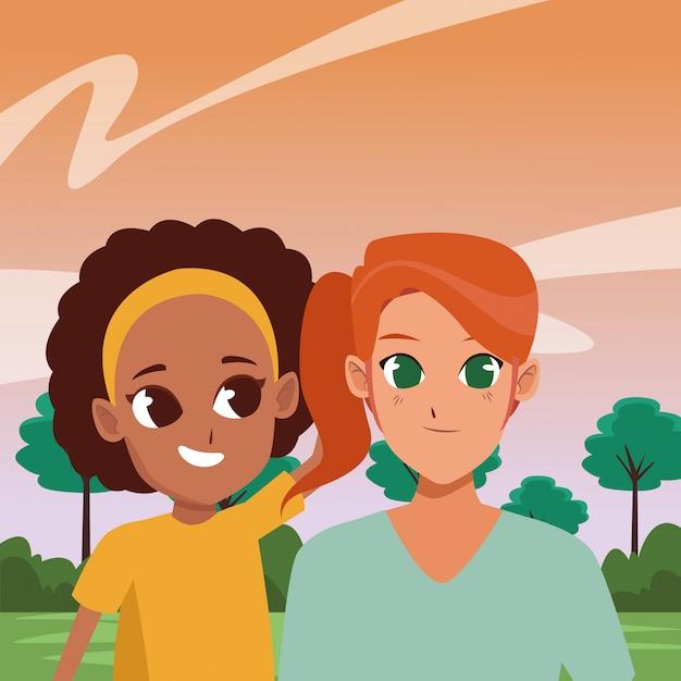 家族の親と子の漫画 Premiumベクター