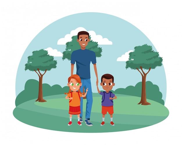 子供と家族のシングル父親 Premiumベクター