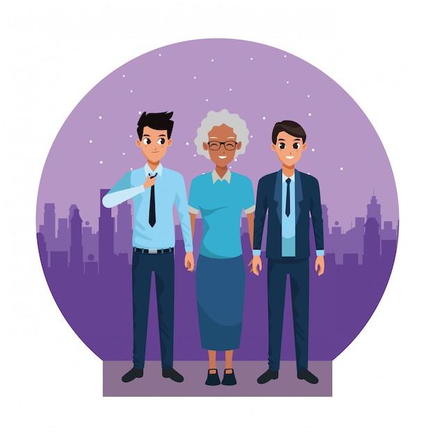 大人の孫と家族の祖母 Premiumベクター